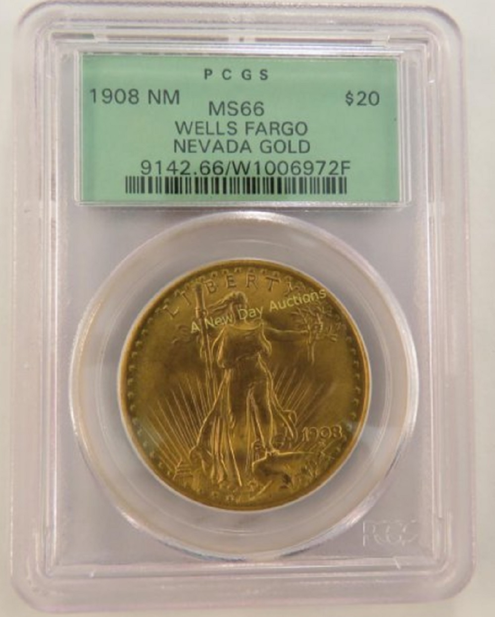 This super gem Wells Fargo 1908 Saint-Gaudens, No Motto double eagle has a story and a moral.