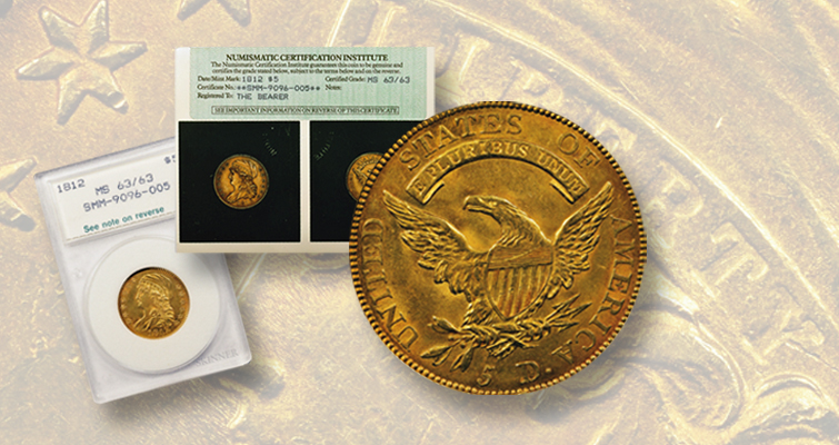 1812 Capped Draped Bust gold $5 half eagle