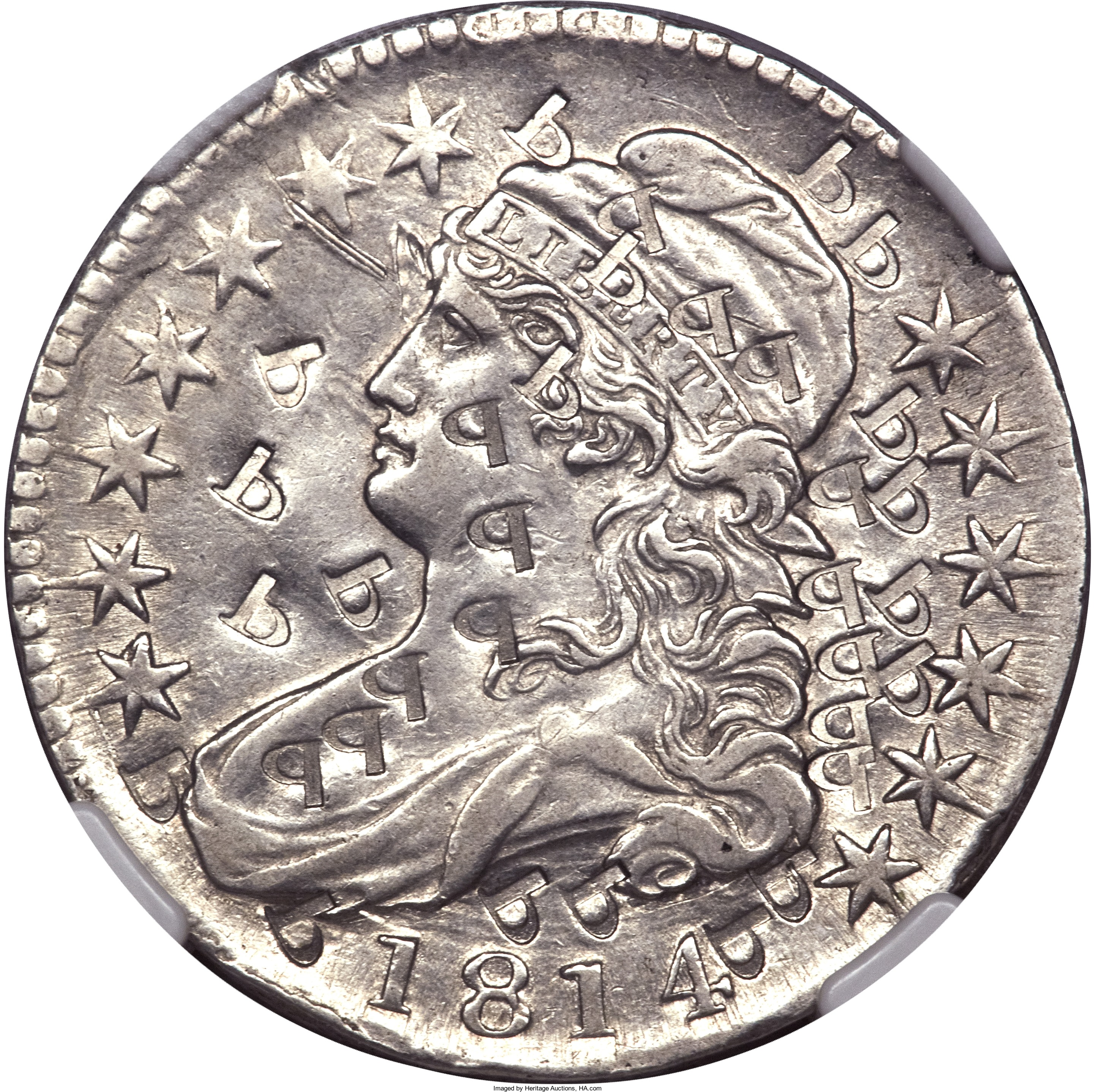 This 1814 half dollar, with the letter P punched into the obverse 33 times, was struck in platinum and weighs close to twice as much as the regular-issue silver coin. It sold for $138,000 in 2011.