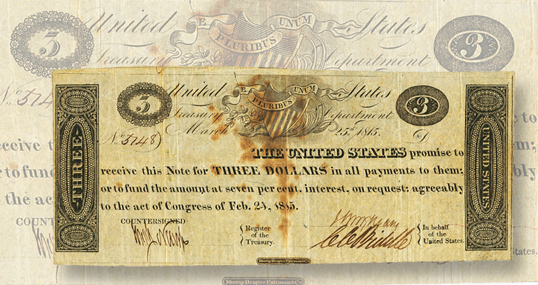 1815 3 dollar Treasury note