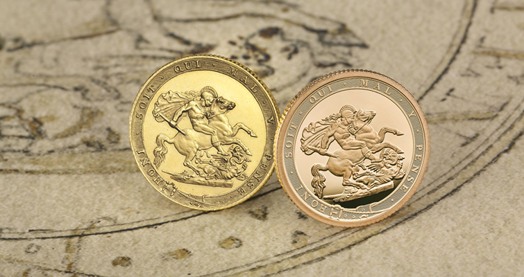 The 2017 gold sovereigns mark the 200th anniversary of modern sovereign coins. The Proof 2017 coin, right, reflects Pistrucci's 1817 design, including the border.  Image courtesy of the Royal Mint.