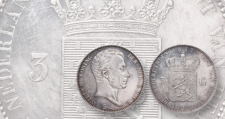 Silver 3-guilder pattern for Dutch king appears in Schulman auction