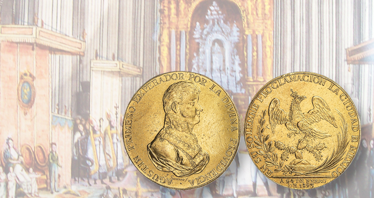 Proclamation gold medal for Mexico's short-lived king in auction
