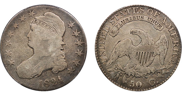 1824 over 1 Capped Bust half dollar