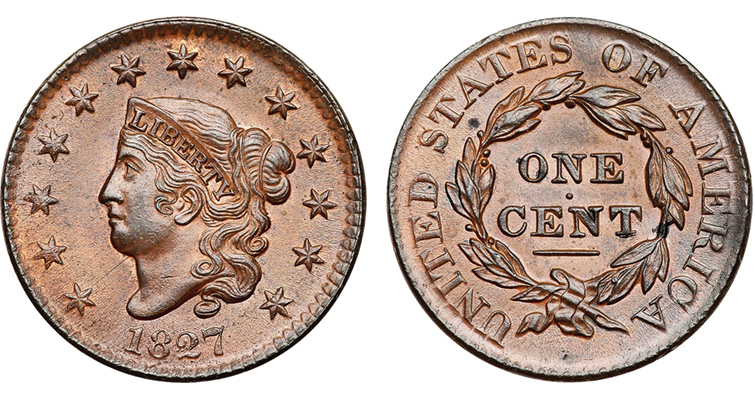 1827-coronet-cent-graded-brown-obverse-reverse