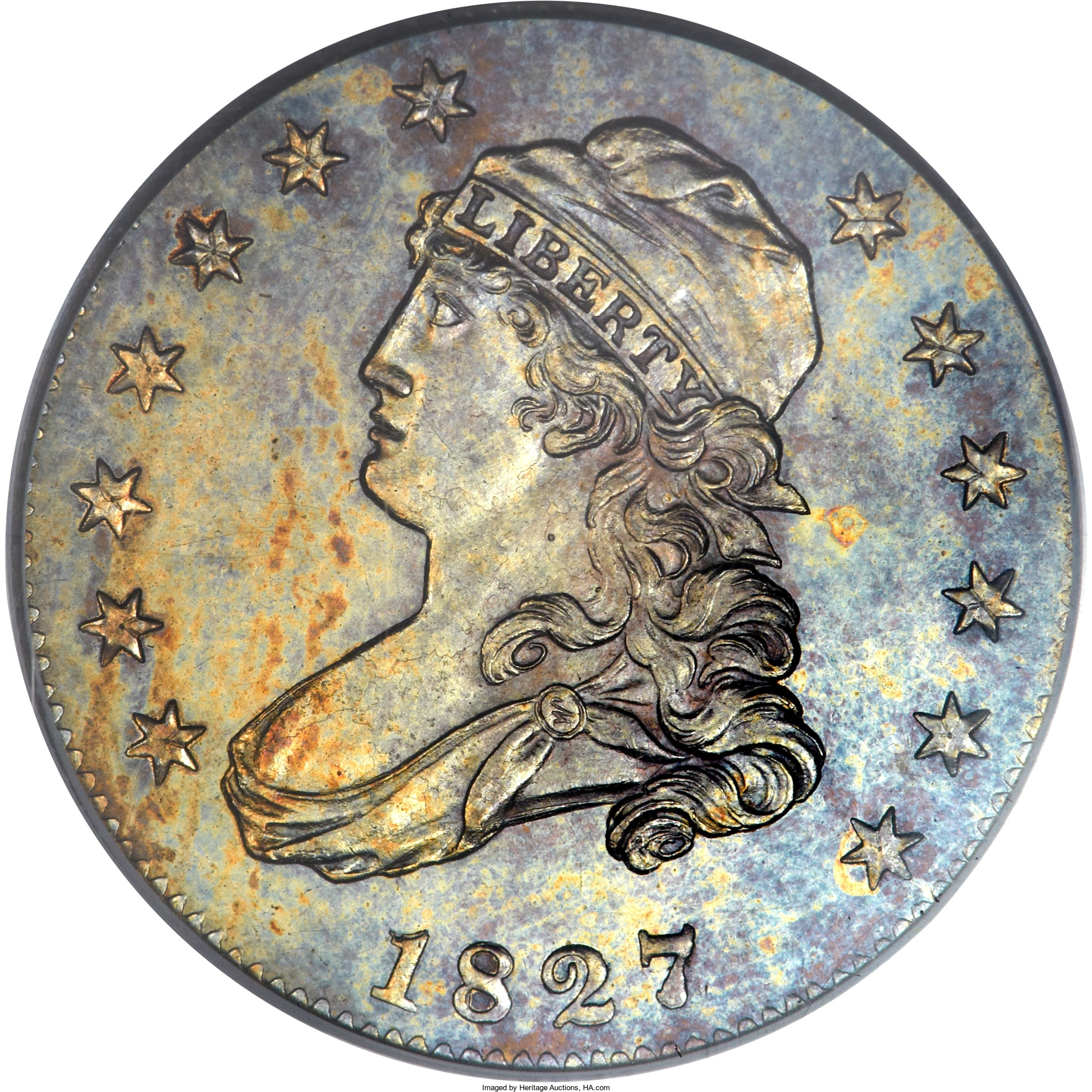 Obverse of original Proof 1827 quarter dollar that fetched $411,250 at auction in 2014.