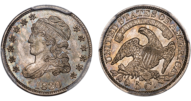 1830 LM-9.1 PCGS MS-64 CAC Plate Merged