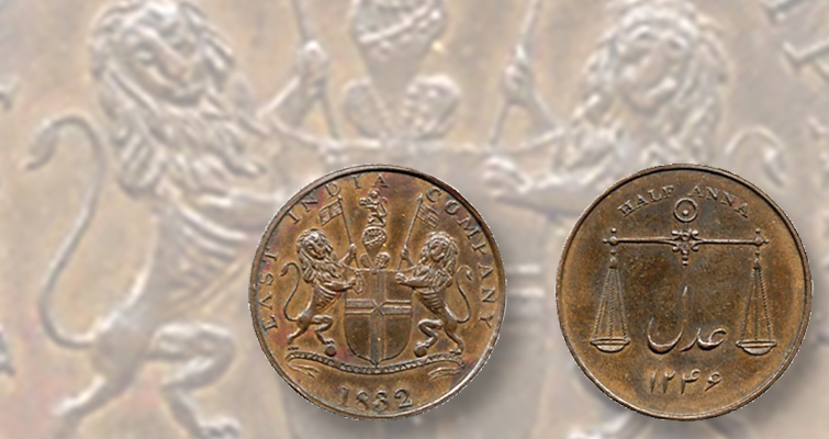 Proof 1832 half anna pattern of British East India Company realizes $4,039 in auction