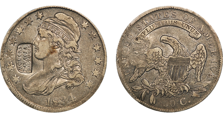 Houcks Panacea counterstamped 1834 Capped Bust half dollar