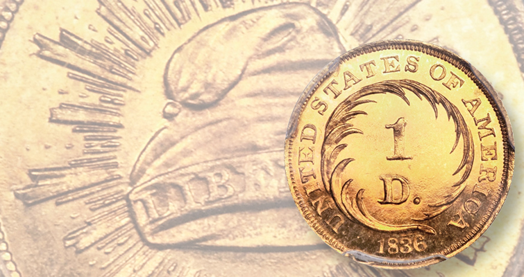 Example of first U.S. gold pattern realizes $28,200 at CSNS auction