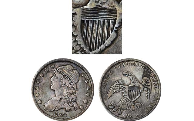 1838 Capped Bust quarter dollar struck twice; dies rotated between first, second strikes