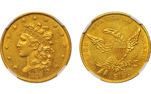 1838-C Classic Head $5 gold half eagle with Civil War ties in Scotsman Oct. 17 Collectors' Auction