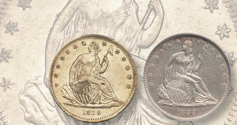 1839 Seated Liberty half dollars