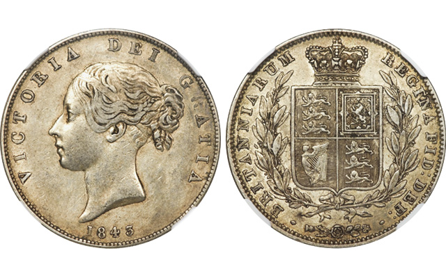 This Extra Fine 1843 half crown fetched $460 at auction in 2011 and resold for $690 in 2013.