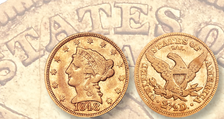 1848 Coronet $2.50 gold quarter eagle