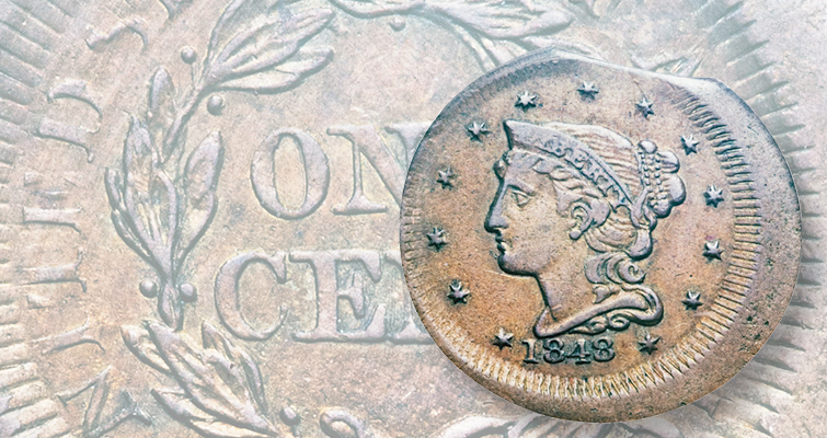 1848 Coronet, Small Date cent counterfeit
