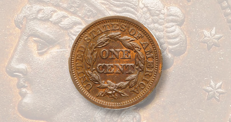 1848 large cent graded MS-65