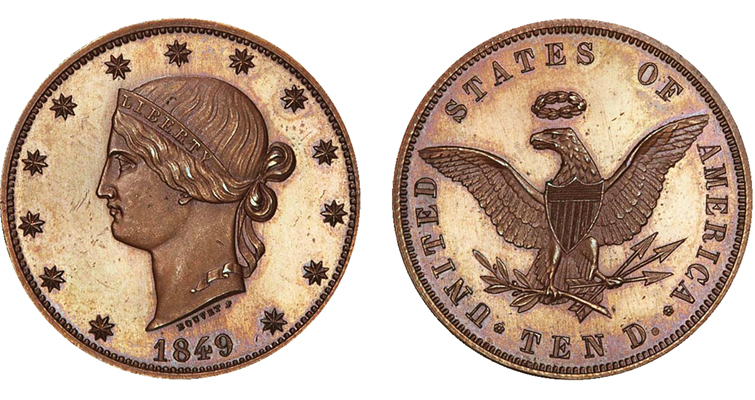 Charles Bouvet's 1849 pattern for U.S. gold $10 eagle