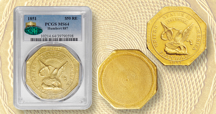 1851 $50 gold piece