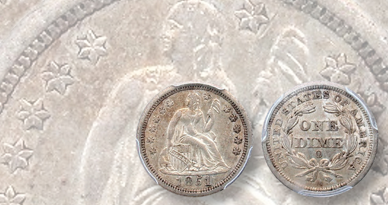1851-O Seated Liberty dime missing star 7 on coin's obverse