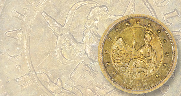 1853 California gold coin