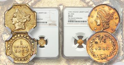 1853 Coronet gold dollar