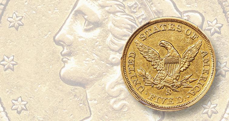 1854 -S Coronet gold $5 half eagle