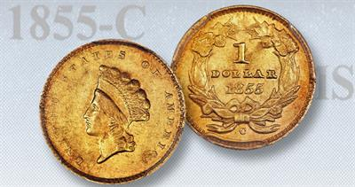 1855-C Small head gold dollar