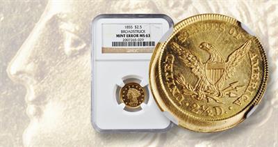 1855 Coronet gold $2.50 quarter eagle broadstrike