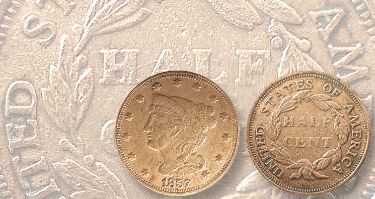 1857 Coronet half cent struck from counterfeit dies: Readers Ask