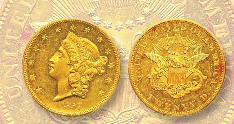 1857-O gold double eagle