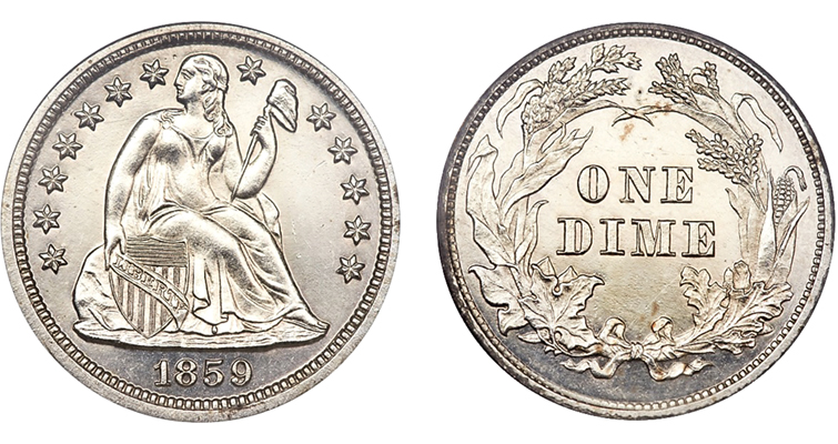 On the pattern 1859 half dimes and dimes struck with an 1859 obverse and an 1860 reverse, neither side says UNITED STATES OF AMERICA — making the coin without a country the perfect piece for the man without a country. The dime pattern is shown.