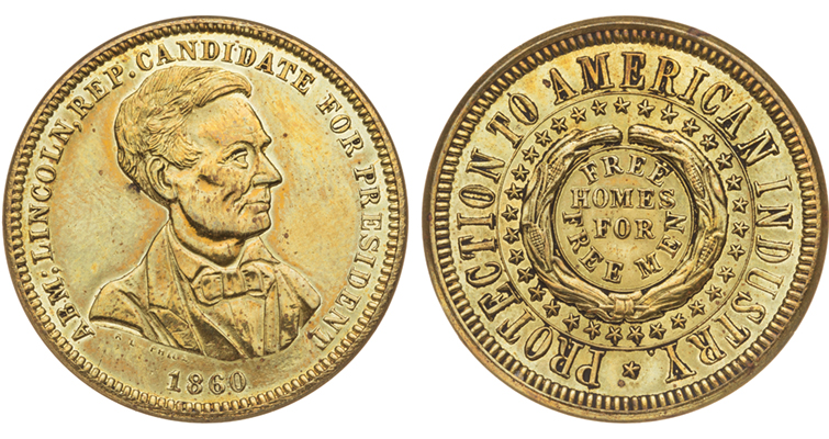1860 Lincoln campaign token merged