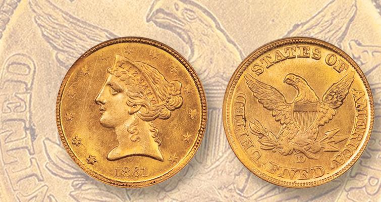 1861-D Coronet half eagle