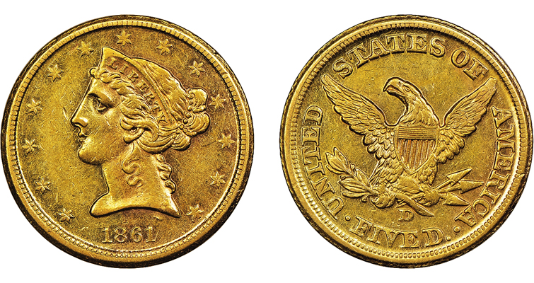1861-D half eagle Reed Creek AU-58 merged