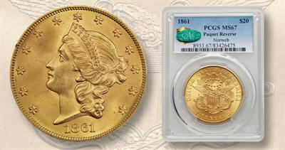 1861 Paquet Coronet gold $20 double eagle