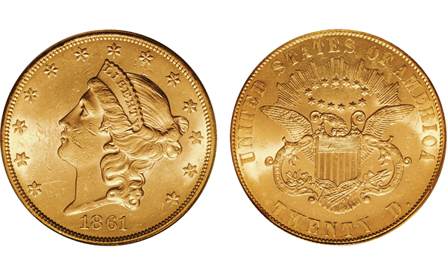 1861 Coronet, Paquet reverse gold $20 double eagle returns to market in August Heritage auction