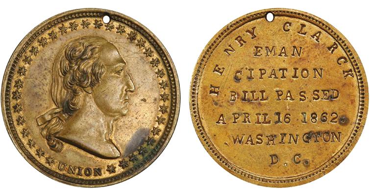 1862 George Washington emanicipation medal