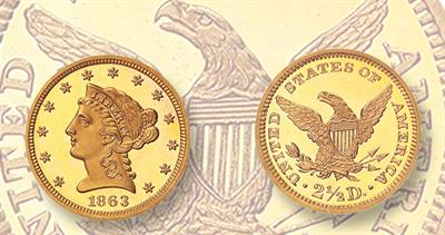 1863 Coronet quarter eagle