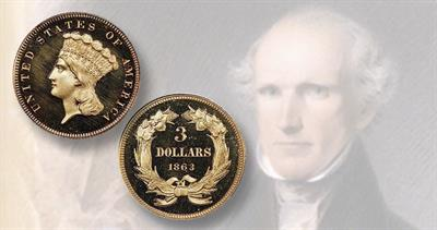 1863 Indian Head gold $3 piece