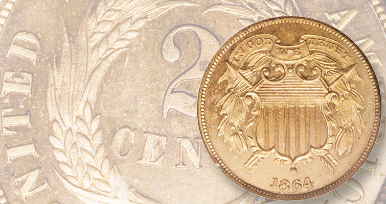 The national motto, IN GOD WE TRUST, first appeared on the 1864 2-cent piece.
