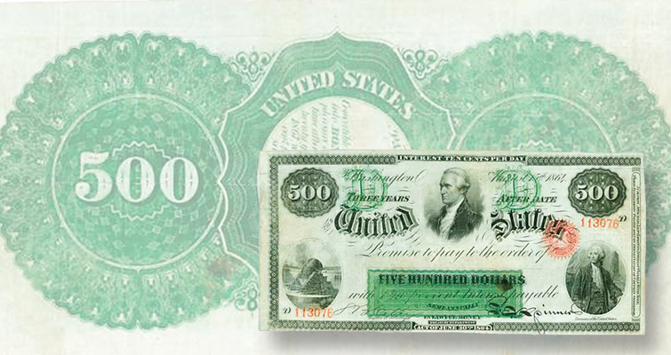 1864 $500 interest-bearing note returns to market after 44 years