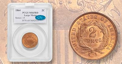 1864 2-cent coin tat brought 3600 dollars in 2020 auction