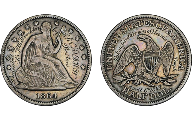 Engraved 1864 Seated Liberty half dollar struck from silver pulled from Boston Masonic Temple fire ruins