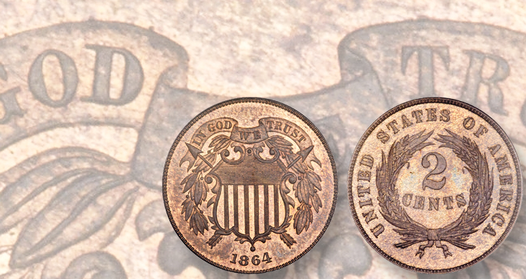 In God We Trust motto on 2-cent coin