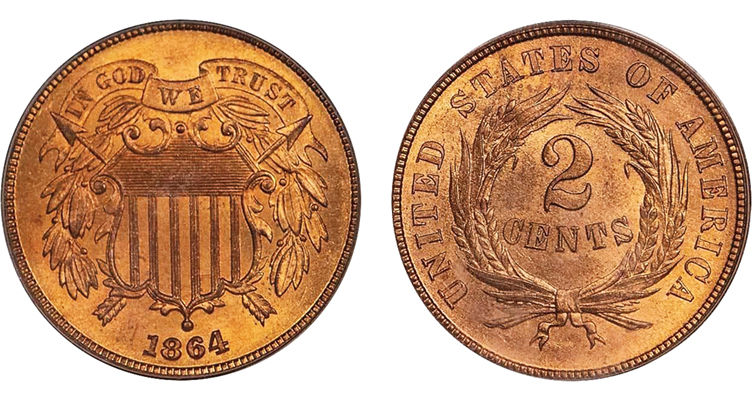 1864 2-cent coin that brought 3600 dollars in a 2020 auction