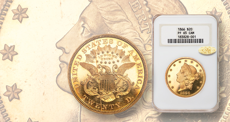 Proof 1866 Coronet gold $20 double eagle