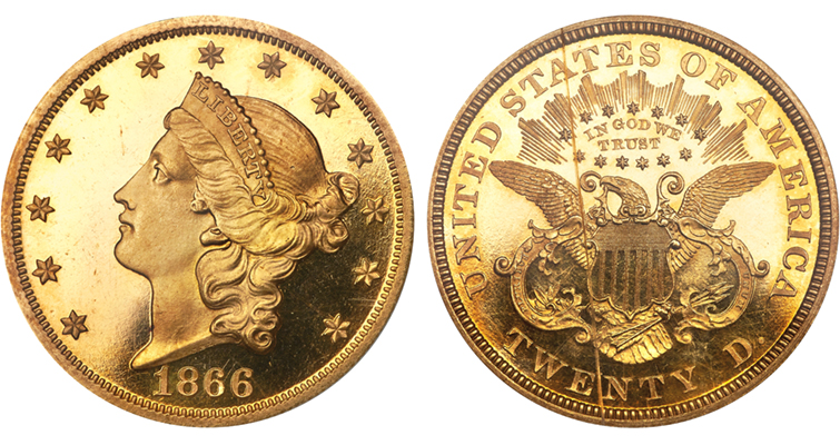 Proof 65 1866 Coronet gold double eagle