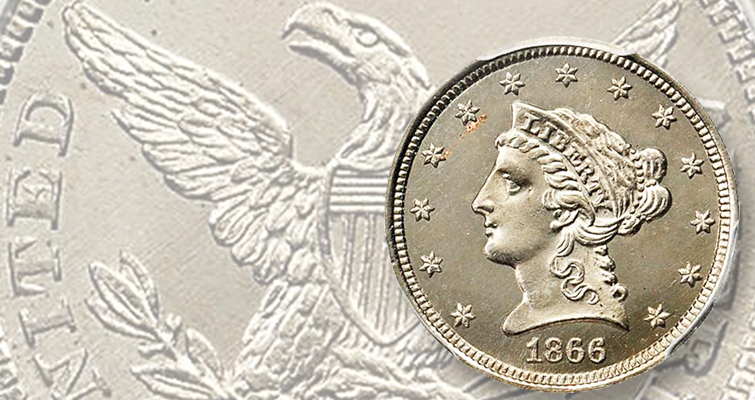 Puzzling 1866 Coronet $2.50 pattern realizes $23,500 at Rarities Auction