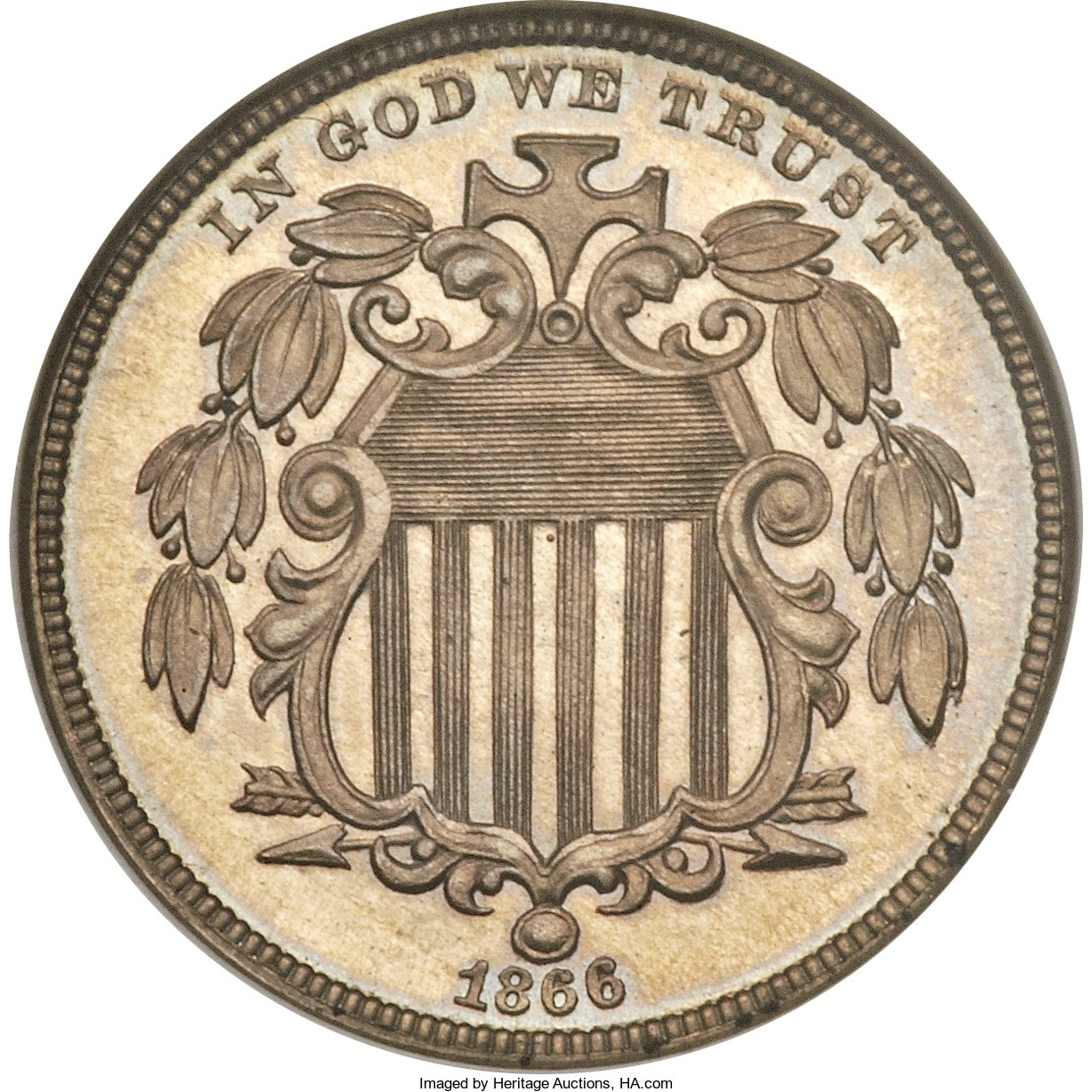 As the Civil War wound down, the government sought to replace the fragile paper fractional notes with coins. With silver still not circulating, the Mint turned to nickel coins to replace the silver half dime in 1866. Though not particularly beautiful, the Shield 5-cent piece was produced for 21 years.